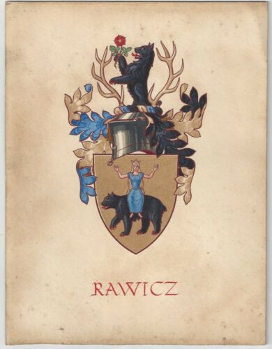 A Vintage Handpainted Polish RAWICZ Coat Of Arms Wall Plaque Or Display Piece