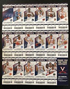 Virginia Cavaliers 2017 2018 Basketball Season Undivided Ticket Sheet Stubs UVA