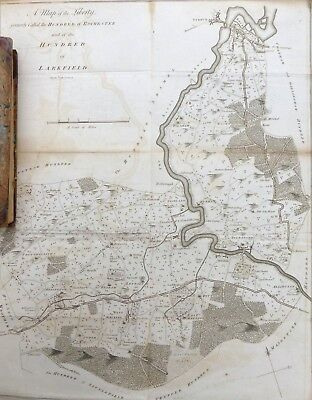 KENT, 1797 - ORIGINAL ANTIQUE MAP of Hundreds of ROCHESTER & LARKFIELD - HASTED.