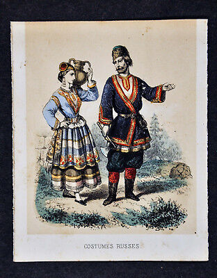 1856 Fashion Style Print - Costumes Russes - Russian Couple Dress Cossack Russia](Russian Cossack Costume)