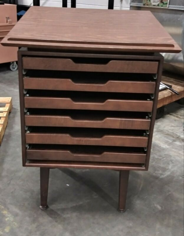 Vintage Dark Wood Map Cabinet with 6 drawers