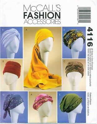 McCalls 4116 Fashion Accessories Headwrap Turban Hats sewing pattern UNCUT -