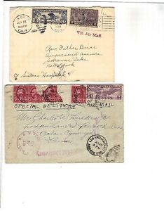 2 Air Mail Special Delivery Covers 1928 1931 non-philatelic SD - NY,LA - Pa RPO