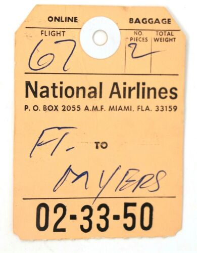Vtg National Airlines Ft Myers Luggage Tag 02-33-50