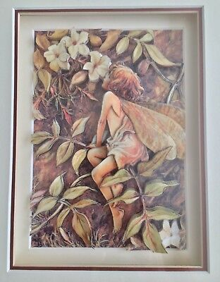 Fairy Girl 3D Carve Paper Art Framed Flowers Nature Matted Fantasy Mythical