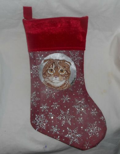Scottish Fold Red Tabby Cat Hand Painted Christmas Gift Stocking Holiday Decor
