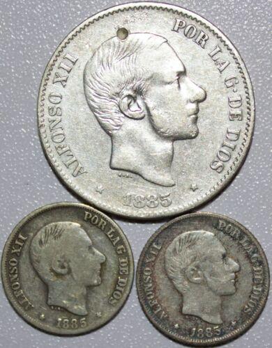 1885 Spain/Philippines 50 & 10 Centavos Lot ~ Silver ~ MX130