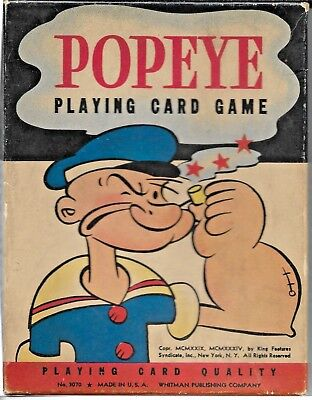 1934 Whitman Publishing Company Popeye Playing Card Game In Original Box