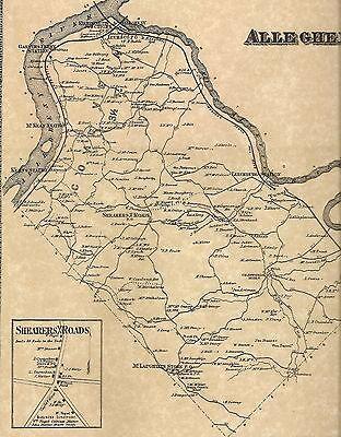 Allegheny Vandergrift West Leechburg PA 1867 Map with Landowners Names Shown