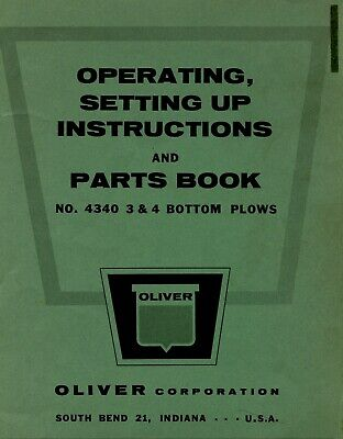 Oliver 4340 - 3 4 Bottom Plow Owners Operators Setting Up Parts Manual - 60