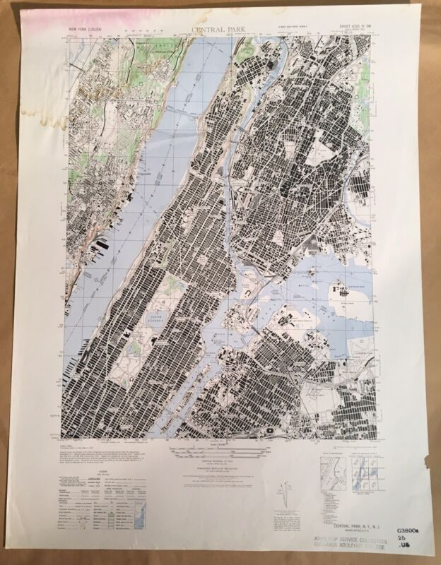 New York City - Central Park 1947 Original Vintage Army Map Service Map.