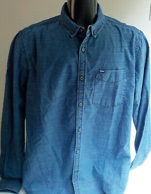 SUPERDRY The Shirt Store Oxford Denim Striped LS Button Front Shirt SZ XXL