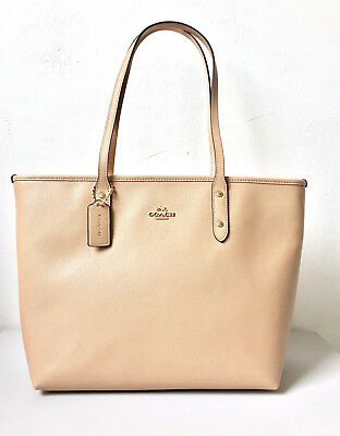 New York City Bag (COACH New York Tasche City Tote Bag Echtleder Beige Damen Ledertasche )