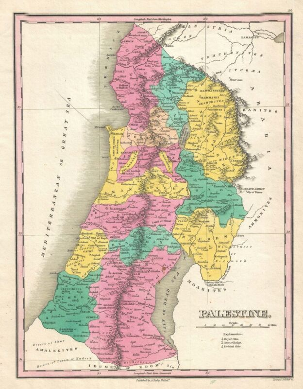 1828 Finley Map of Israel, Palestine, or the Holy Land