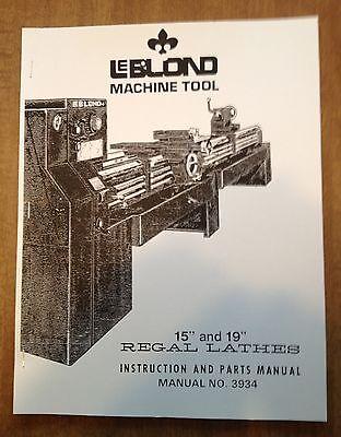 Leblond Regal Lathe Instruction Parts Manual
