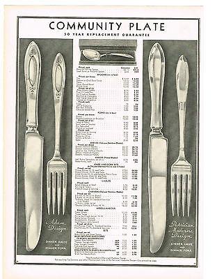 1933 AD Community Plate Adam, Patrician Moderne Design Flatware, Tea Sets, Trays