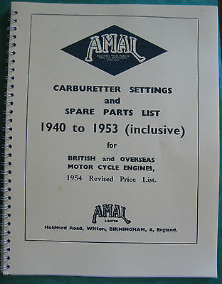 VINTAGE AMAL CARB SETTINGS AND PARTS ALL BIKES LISTED UK AND OVERSEAS 1940 - 53