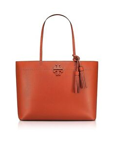 Tory Burch McGraw Desert Spice Textured Leather Tote Bag