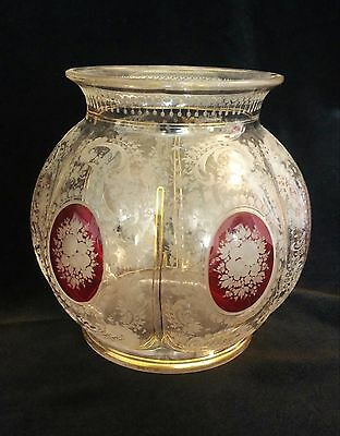 Signed Moser Antique Ruby Glass Cut Etched Glass Vase French Decoration