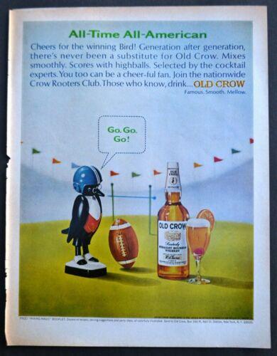 Vtg Original Old Crow Advertisement Football Theme Whiskey Liquor Ad 1969
