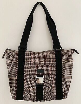 Lauren Nylon Tote (LAUREN RALPH LAUREN Women Hand Bag Tote Nylon Zip Close Brown Multi Houndstooth)