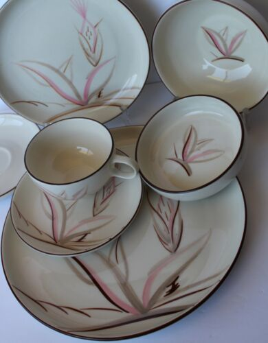 Vintage Mid-Century Winfield Pottery Pink Dragon Flower 7 Piece Place Setting