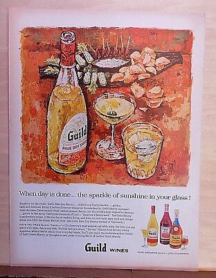 1957 magazine ad for Guild Wines of California - Earl Thollander art, Sherry  for sale  Houlton