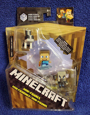 Minecraft Wood Series 10 mini-figures 3-pack TOAST, STEVE (w/Boots), VINDICATOR