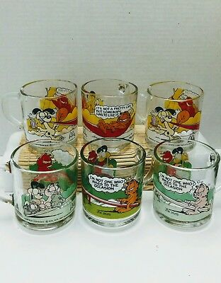 set/6 Mcdonalds collector series glasses cups GARFIELD Characters cups