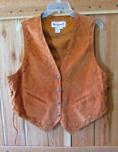 Vintage Suede Leather Vest By Bechamel Size L, Western Design