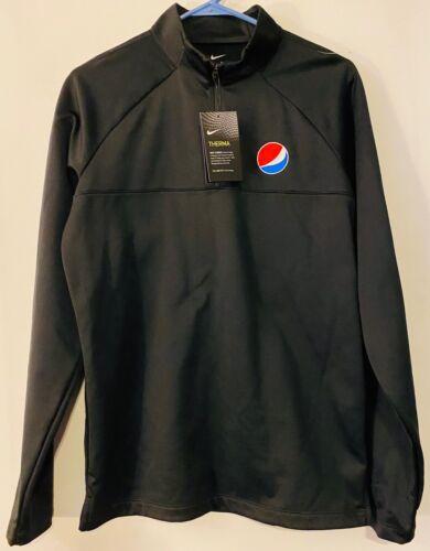 Nike Dri Fit Pepsi Black Quarter 1/4 Zip Fleece Pullover Embroidered Small