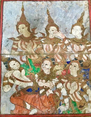Thai Painting Buddhist Manuscript Ten Lives of Buddha Ayudthya Period