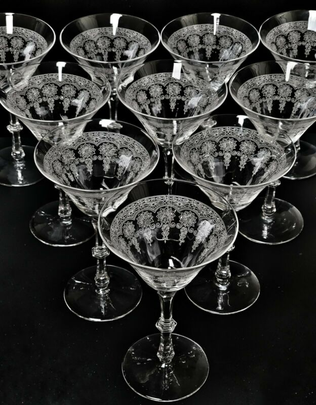 """Antique Bryce Etched Flowers Set of 10 Glass 6 1/2"""" Tall Wine Stems"""