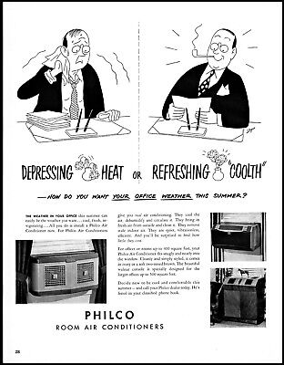 1949  Philco room air conditioners businessman office vintage art Print Ad adL20