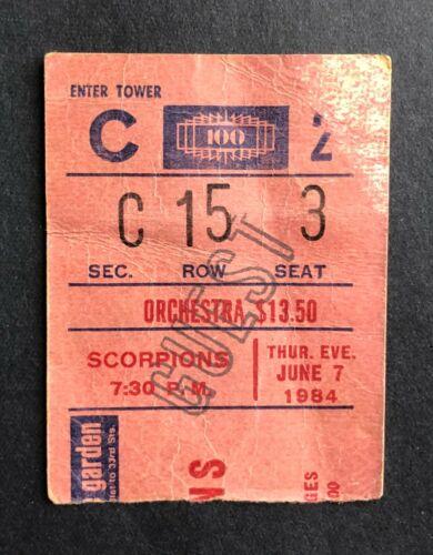 1984 Bon Jovi & Scorpions Ticket Stub 6/7/84 Madison Square Garden, New York NY.