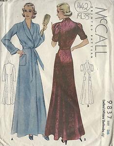 1938 Vintage Sewing Pattern B36 BATHROBE DRESSING GOWN (1442)