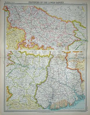 1920 LARGE MAP ~ PROVINCES OF THE LOWER GANGES ~ 23