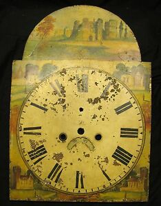 Antique Folk Art Painted Tall Case Clock Dial Face
