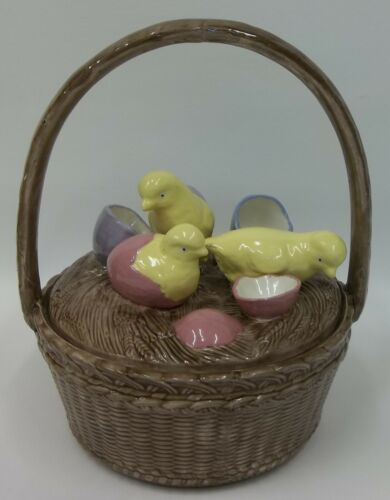 Vintage Ceramic Lidded Easter Candy Dish Basket Hatching Chicks Colored Eggs