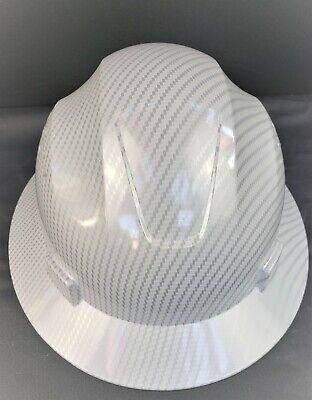 Full Brim White Hard Hat Custom Hydro Dipped New White Carbon Fiber Design