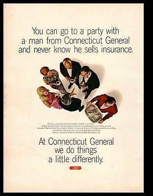 1966 Connecticut General LIfe Insurance Black Tie Dinner Party Vintage Print Ad