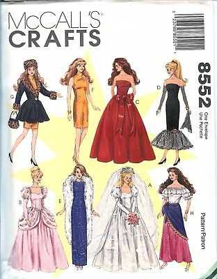 McCalls 8552 Barbie Fashion Doll Clothes 11.5 inch sewing pattern gowns UNCUT](Adult Barbie Doll Costume)