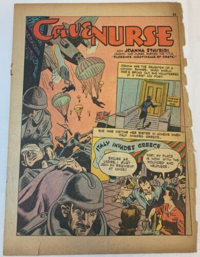 1942 three page cartoon story ~ JOANNA STAVRIDI - CAVE NURSE OF CRETE