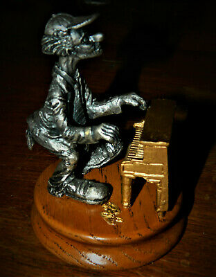 """HONKY TONK PIANO """"HOBO BAND"""" by Ron Lee pewter (?) on Wood base"""