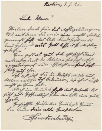 "Hindenburg, Paul von (1847-1934) - Autograph letter signed ""Your old grandfath."""