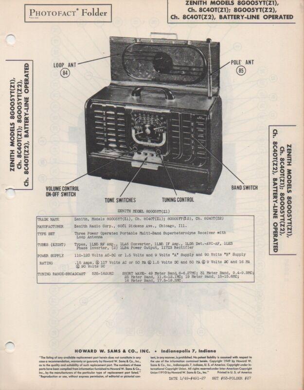 1948 Zenith 8g005yt Z1  Z2 Radio Service Manual Photofact