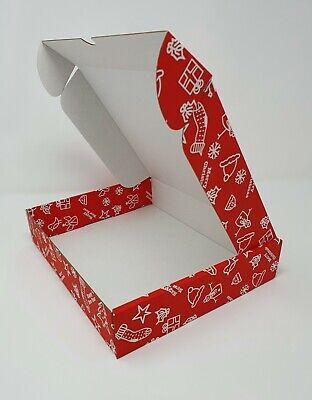 10 x CHRISTMAS/NEW YEAR GIFTING Cardboard Folding Lid Postal Boxes 236x196x47mm