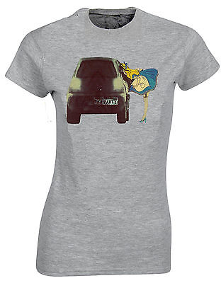 Naughty Alice In Wonderland Banksy Style Tea Party Womans Cut Shirt Top AH73