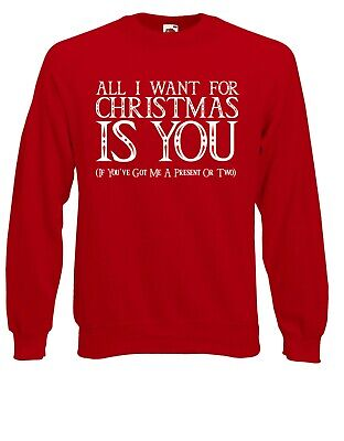 All I Want For Christmas Is You If Present Jumper Sweater Pullover XM18 ()