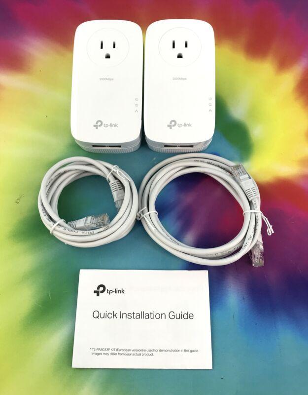 TP-Link AV2000 2 Port Gigabit Pass-through Powerline Adapter TL-PA9020P Set Of 2